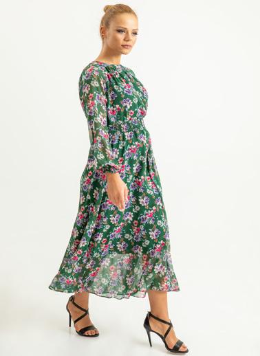 Foremia Çiçek Desen Beli Gipeli Uzun Elbise Yeşil